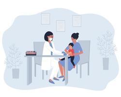 a enfermeira faz um teste no dedo da criança vetor