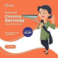 design de banner de serviços de limpeza profissional vetor