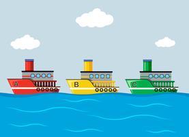 Navios coloridos no oceano vetor