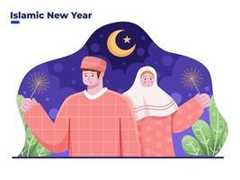 casal muçulmano celebra o ano novo islâmico, ano novo islâmico, vetor
