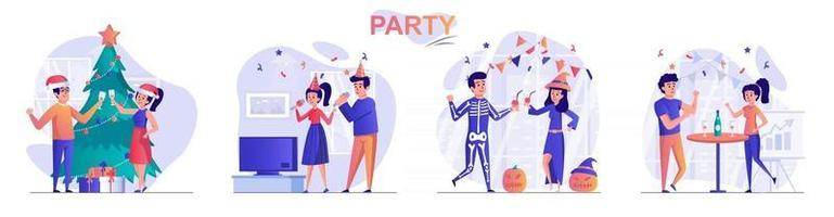 conjunto de cenas de conceito de festa vetor