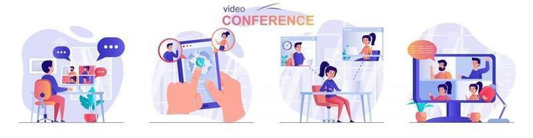 conjunto de cenas de conceito de videoconferência vetor