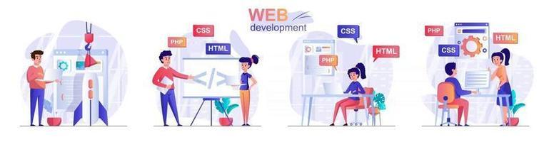 conjunto de cenas de conceito de desenvolvimento web vetor