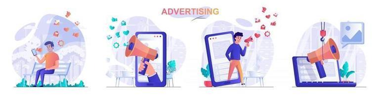 conjunto de cenas de conceito de publicidade vetor