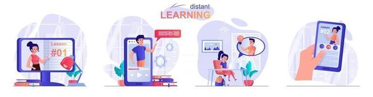 Conjunto de cenas de conceito de aprendizagem à distância vetor