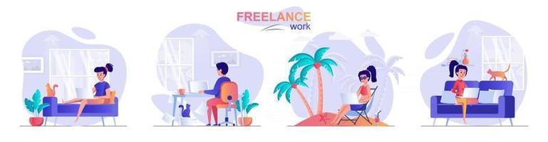 Conjunto de cenas de conceito de trabalho freelance vetor
