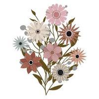 um buquê de diferentes flores silvestres com folhas. plantas com flores vetor