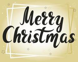 letras feitas à mão de feliz Natal em vetor de fundo dourado