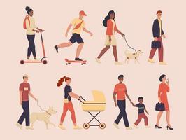 um conjunto de personagens caminhando sobre as pessoas vetor