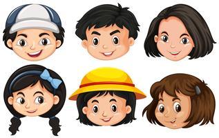 Seis faces diferentes de crianças