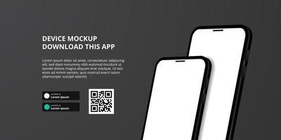 banner para download de aplicativo para celular, maquete 3D de smartphone vetor