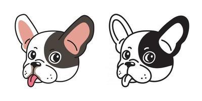 conjunto de desenhos animados de vetor de rostos de buldogue francês
