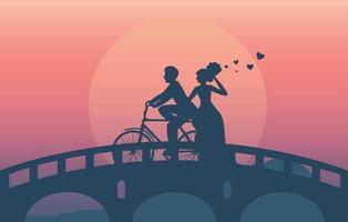 silhueta de um casal andando de bicicleta na ponte vetor