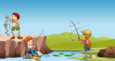 Três meninos, pesca, em, a, rio vetor