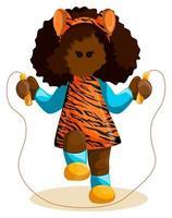 garota de pele escura em roupas com uma estampa de tigre pulando corda vetor