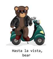 imagem vetorial de um urso de brinquedo em uma scooter elétrica vetor