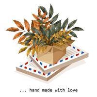 caixa de papelão ondulado com raminhos de uma planta com inscrição vetor
