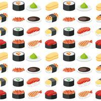 Conjunto de sushi padrão sem emenda vetor