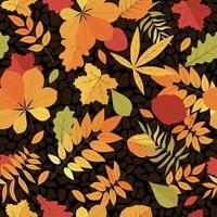 folhas brilhantes sem emenda. padrão de outono. vetor