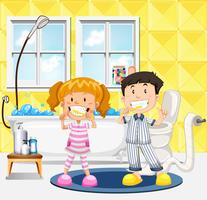 Crianças jovens, escovando, seu, dentes, cena vetor