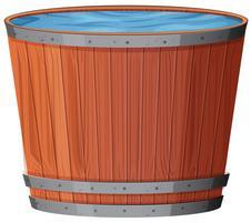 Água no barril de madeira no fundo branco vetor