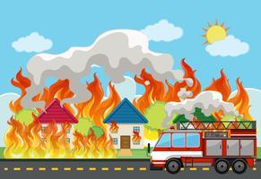 Fundo de fogo de casa de emergência