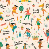 Corpo positivo. Felizes plus size meninas e estilo de vida ativo. vetor