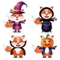 raposa fofa com fantasia de coleção de personagens de halloween vetor