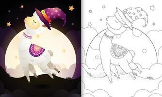 livro para colorir com um desenho fofo de halloween bruxa alpaca vetor