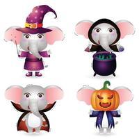 elefante fofo com fantasia de coleção de personagens de halloween vetor