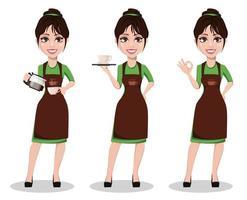 jovem e bela barista de uniforme vetor