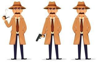 detetive de chapéu e casaco. personagem bonito vetor