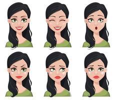 expressão facial de linda mulher morena vetor