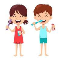 higiene dental diária. menino e menina escovando os dentes vetor