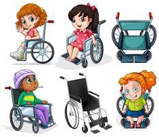 Pacientes com deficiência com cadeiras de rodas vetor