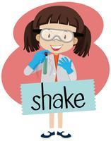 Flashcard para palavra agitar com a garota em traje de laboratório
