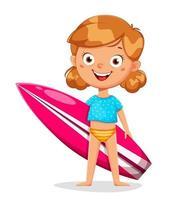 personagem de desenho animado de menina fofa com prancha de surf vetor