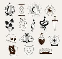 objetos e símbolos de bruxaria vetor