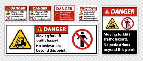 perigo de tráfego de empilhadeira em movimento, sem pedestres além deste ponto vetor