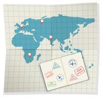 Conjunto de passaportes e cartão de embarque vetor