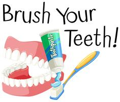 Escove os dentes com escova de dentes e cole vetor