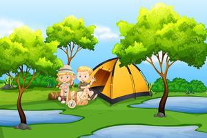 Crianças, acampamento, natureza vetor