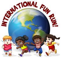 Crianças gordas correndo ao redor do mundo vetor
