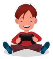 menino alegre jogando videogame. garoto bonito dos desenhos animados vetor