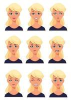 expressões faciais de uma mulher loira. conjunto de emoções femininas diferentes vetor