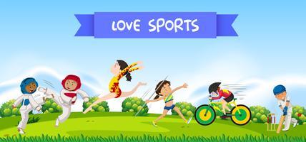 Atletas do esporte na natureza vetor
