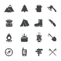 caminhadas ícones de equipamentos. ilustração vetorial vetor