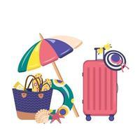 conjunto de itens de verão. mala de praia e acessórios vetor