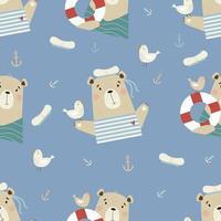 padrão sem emenda com ursos bonitos. marinheiro com gaivota e bóia salva-vidas vetor