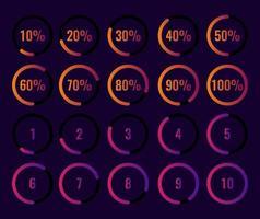 conjunto de porcentagem do círculo e diagrama de contagem regressiva 10-100 por cento 1-10. vetor